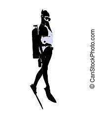 Female Scuba Diver Illustration Silhouette
