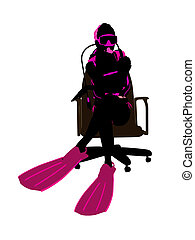 Female Scuba Diver Sitting On An Office Chair Illustration...