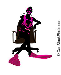 Female Scuba Diver Sitting On An Office Chair Illustration Silhouette