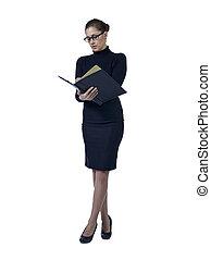 female secretary checking notes