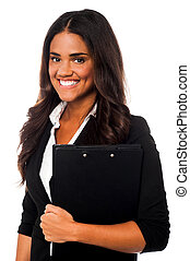 Female secretary holding files