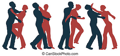 Set of editable vector silhouettes of self defense moves for women