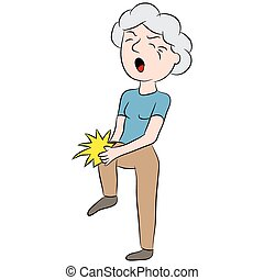 Female Senior Citizen with Knee Pain - An image of a cartoon...
