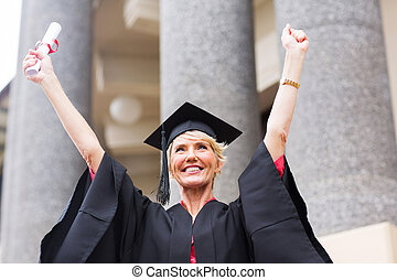 female senior university graduate
