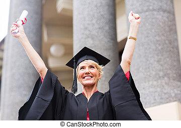 female senior university graduate