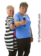 Female seniors with dumbbell