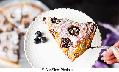 Female serving fruit sweet pie slice
