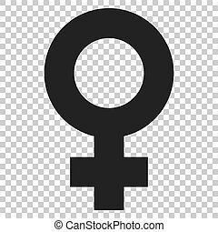 Female sex symbol vector icon in flat style. Women gender...
