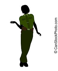 Female Sheriff Art Illustration Silhouette - Female sheriff...