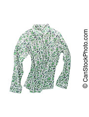 Female shirt, blouse with bright floral pattern, isolated on...