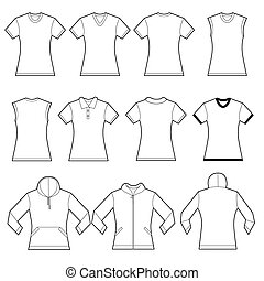 Female Shirts Template - Set of white female shirt template...