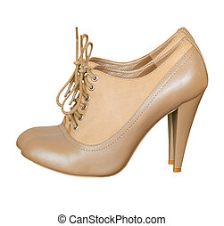 Light beige high heels with lace. Fashion shoes isolated.