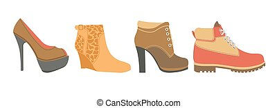 Female shoes on high heel, firm platform and flat sole