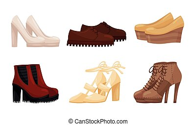 Female Shoes Side View Vector Set. Casual and Formal Footwear