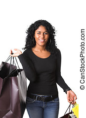 Female shopper - Beautiful girl walking around with a lot of...