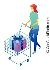 Female shopper with gift box in shopping cart isometric 3D illustration.