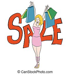 Female Shopping Bag Sale Cartoon