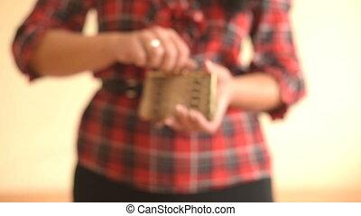 Female Showing Empty Wallet