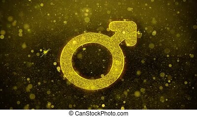 Female Sign Gender Icon Golden Glitter Shine Particles. -...