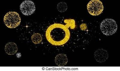 Female Sign Gender Icon on Glitter Golden Particles Effect Firework. Object, Shape, Text, Design, Element, symbol 4K Animation.