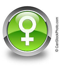 Female sign icon glossy green round button