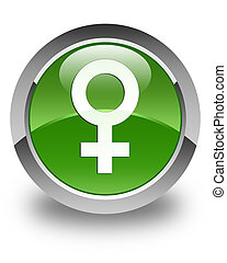 Female sign icon glossy soft green round button