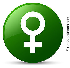 Female sign icon green round button
