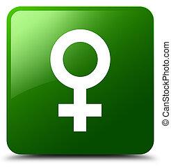 Female sign icon green square button