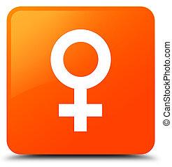 Female sign icon orange square button