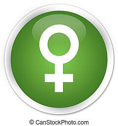 Female sign icon premium soft green round button
