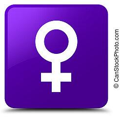 Female sign icon purple square button