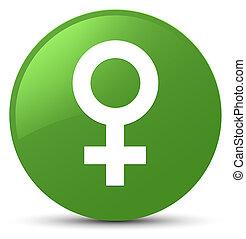 Female sign icon soft green round button