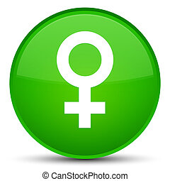 Female sign icon special green round button