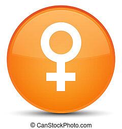 Female sign icon special orange round button