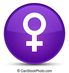 Female sign icon special purple round button