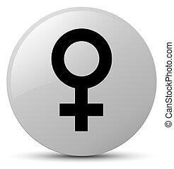 Female sign icon white round button