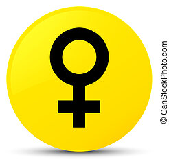 Female sign icon yellow round button