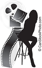 Female silhouette and film objects isolated on the white....