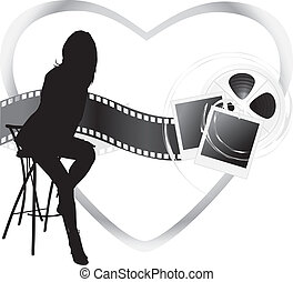 Female silhouette and film objects