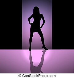 female silhouette background purple
