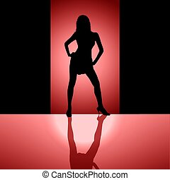 female silhouette background red