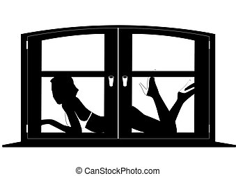 Silhouette of a woman outside the window. Contour black and white illustration.