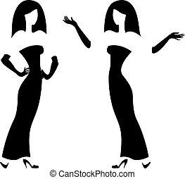 Female silhouette, black and white
