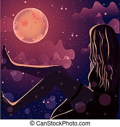 Female silhouette glowing under the moonlight. Fantasy landscape of the starry night sky.