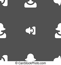 female silhouette icon sign. Seamless pattern on a gray background. Vector