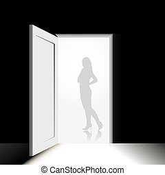 Female silhouette in the doorway