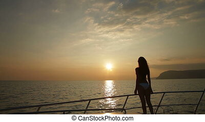 Female Silhouette on Yacht