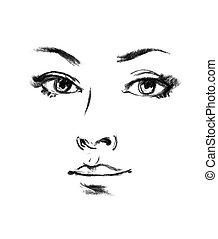 Female silhouette. Portrait of beautiful girl. Hand-drawn. ...