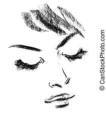 Female silhouette. Portrait of beautiful girl. Hand-drawn....