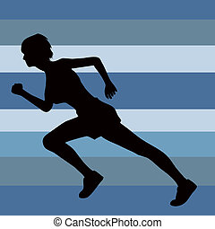 female silhouette running